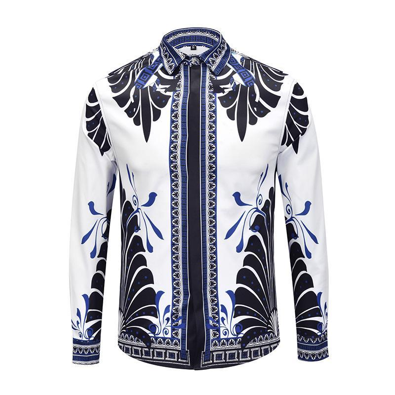 XIMIWUA Nova Moda Camisas Dos Homens de Impressão Floral Manga Comprida Camisa Havaiana Casual Slim Fit Camisa de Alta Qualidade Masculina Streetwear