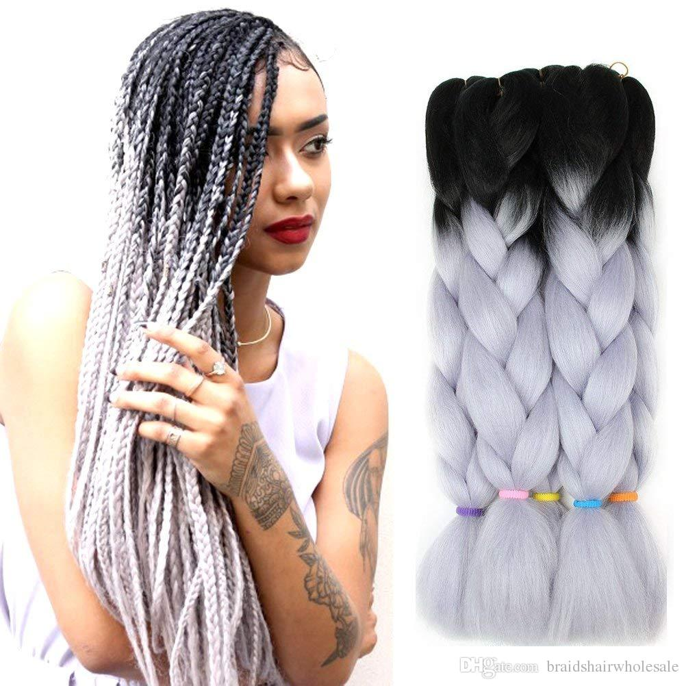 Ombre blue grey pink blue Jumbo Braiding Hair Synthetic Two Tone Color Jumbo Braids Hair 24inch ombre box braids hair