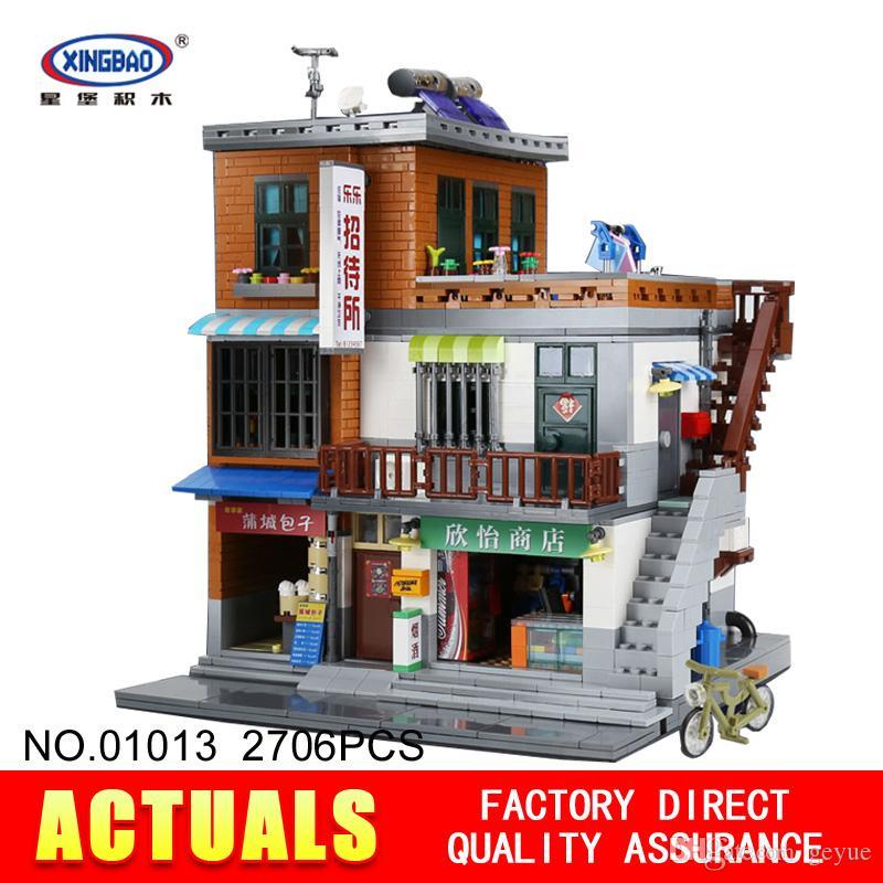 XingBao 01013 Bloque 2706Pcs Casa de huéspedes creativa genuina Los juguetes y la tienda Conjunto de bloques de construcción Ladrillos Modelo de juguete Regalo