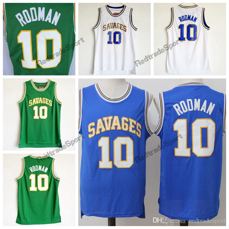 رجل خمر أوكلاهوما ينقذ الدودة دنيس رودمان # 10 كلية كرة السلة الفانيلة رخيصة الأزرق الأخضر دينيس رودمان مخيط القمصان