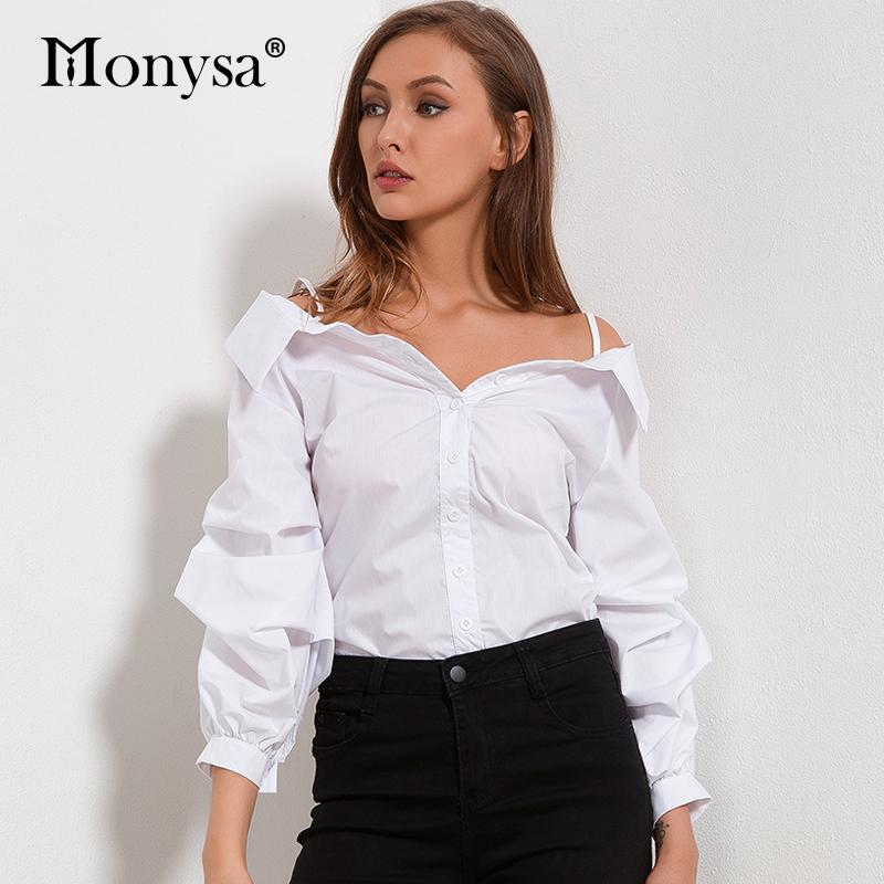 Off Shoulder Blouses Women 2018 Autumn New Arrivals Fashion White
