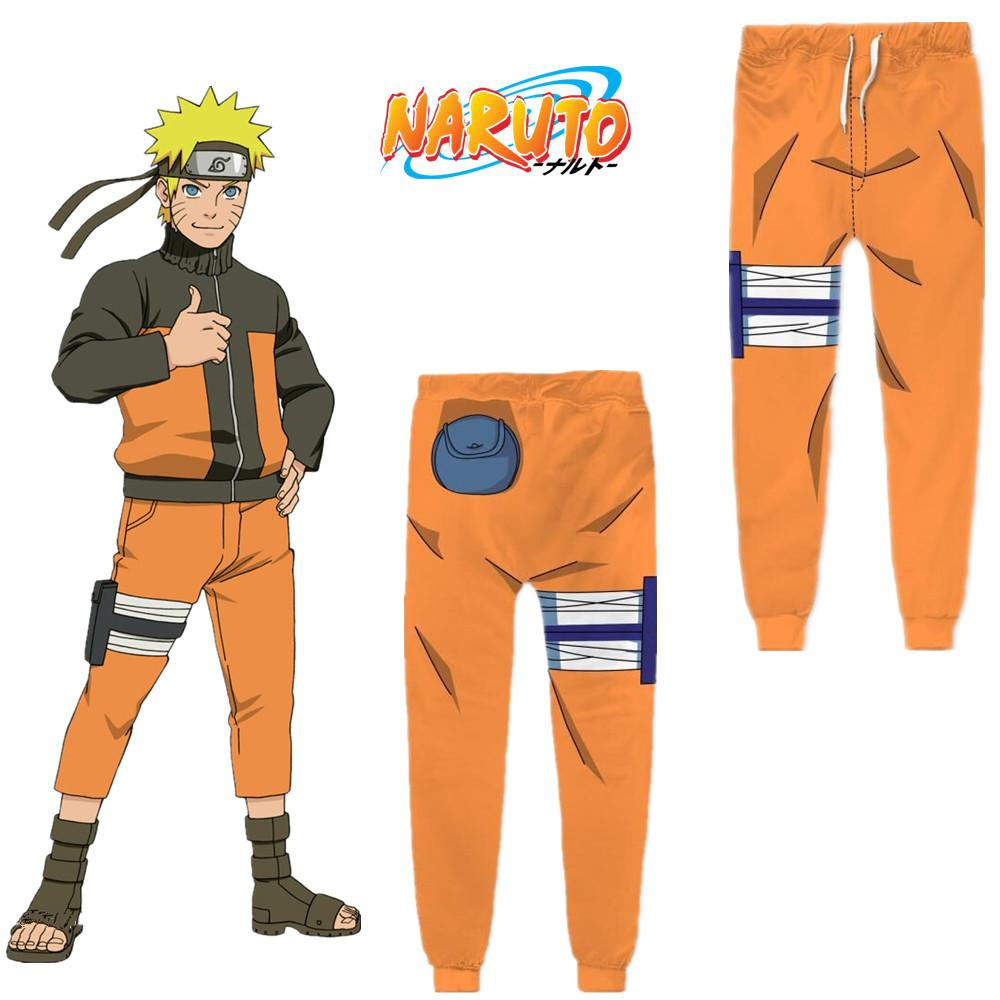 Asya Boyutu Japonya Anime Uzumaki Naruto Cadılar Bayramı Rahat 3D Sarı Cosplay Kostüm Spor Unisex Pantolon Gevşek Pantolon