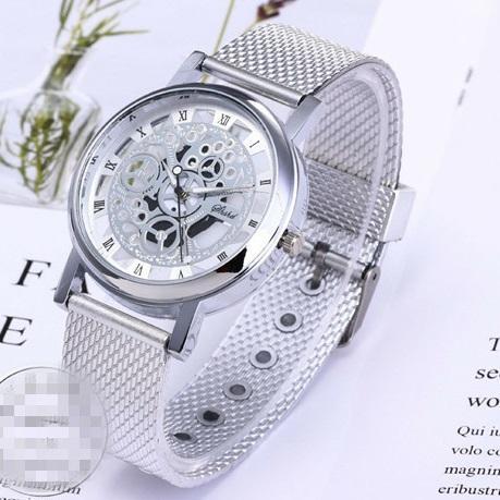 Men's Quartz Wristwatches Men Women Silver Gold Silicone Strap Watches Skeleton Hollow Out Design Roman Numeral Male Bracelet Watches