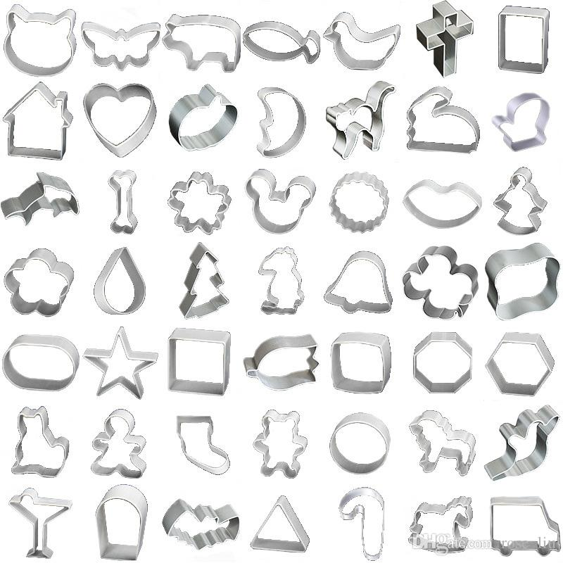 61 Style Baking Moulds Aluminium alloy Cookie Cutters Plunger Biscuit DIY Mold Star Heart Cutter Baking Mould Stencils Pastry B