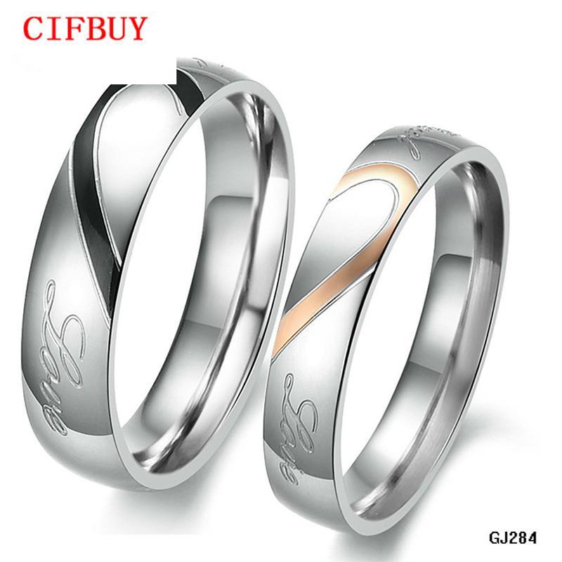 CIFBUY JOAILLERIE 316L demi d'argent en acier inoxydable Coeur Simple Cercle Real Love Couple bague de mariage Anneaux Bagues de fiançailles