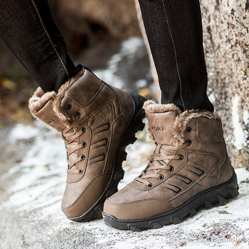 Adam Avcılık Çizmeler Boyutu 39-48 Mens Kış Açık Sneakers Siyah Kahverengi Yürüyüş Sneakers Rahat Seyahat Ayakkabıları