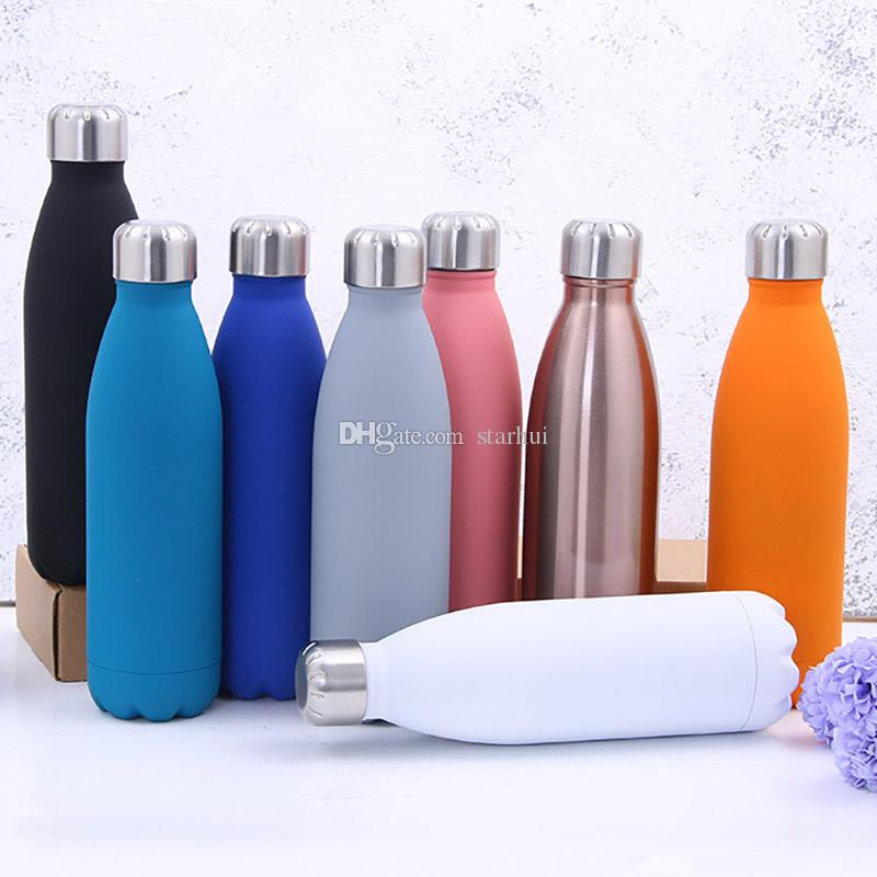 500ML Water Cup Insulation Mug Vacuum Bottle Sports 304 Stainless Steel Cola Bowling Shape Travel Mugs 8 Color Free DHL WX9-426