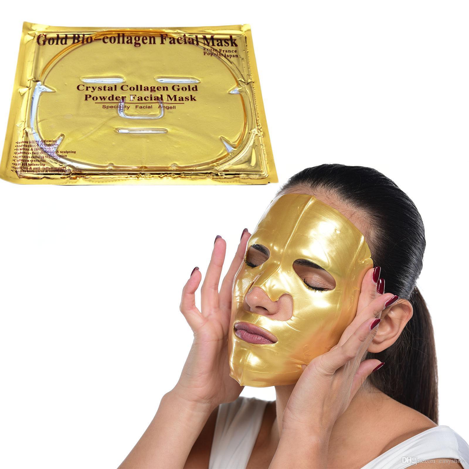 Mascarilla facial al por mayor de bio-colágeno de oro Mascarilla facial Colágeno facial de cristal dorado Mascarilla hidratante Antiedad 24 k Máscaras de oro