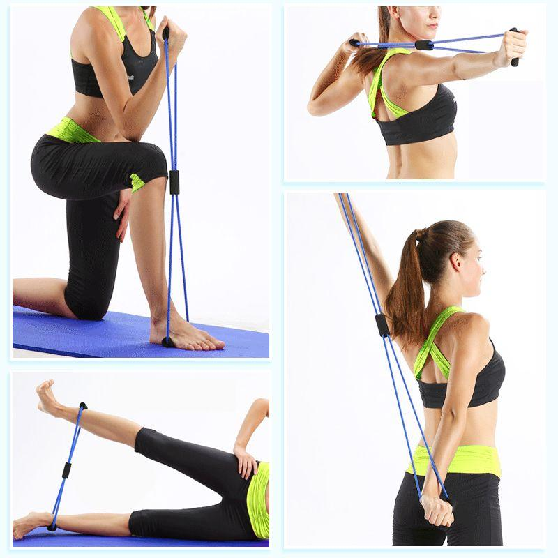 Fitness 8 Word Elastic Resistance Bands Tube Workout Exercise Band For Yoga
