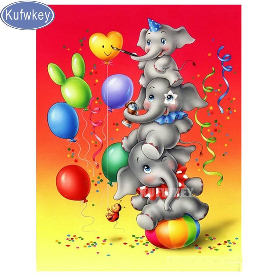 Оптовая Алмаз живопись мультфильм воздушный шар слоны полный дрель площади вышивка крестом картина стразами мозаика декор