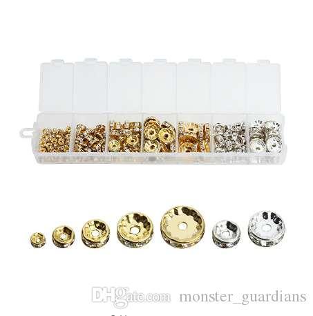 1 Kutu / grup Mix 6 8 10 12mm Dia Altın / Gümüş Kaplama Metal Rondelle Spacer Boncuk Rhinestone Gevşek Kristal Boncuk Takı Yapımı F3747