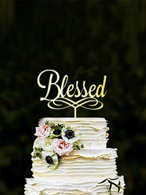 Torta benedetta Topper Baby battesimo Torta acrilica Toppers, Oro, Nero, Specchio, Beato, Comunione Battesimo