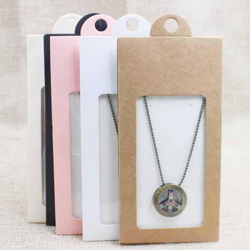 Encantador rosa / beige / blanco / negro / regalo de kraft / caramelo faovr ventana colgador caja pendiente caja de exhibición paquete de tarjeta de boda