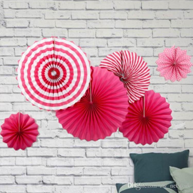 Wholesale Cheapest paper fan flowers 6pcs/set wedding decoration fans handmade paper folding fans for party shop window festival decors