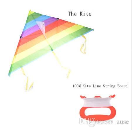 Al aire libre cola larga de nylon Rainbow Kite juguetes para niños Kite truco Kite Surf para niños sin barra de control y línea Kites Venta caliente