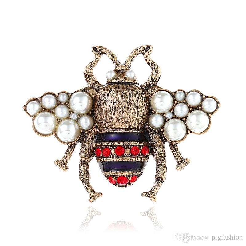 European And American Bee Brooch Vintage 3D Animal Pearl Pin Rhinestone New Lovely Paint Brooches New