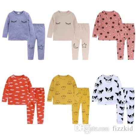 6 цветов малыш мальчики девочки пижамы мультфильм печати пижамы набор детская пижамы с длинным рукавом футболка + брюки дети пижамы