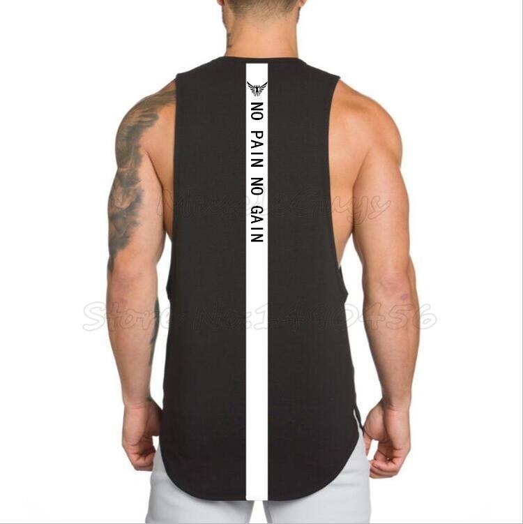 도매 NO PAIN NO GAIN 의류 보디 빌딩 스트링거 체육관 탱크 탑 남성 피트니스 단일면 민소매 셔츠 근육 조끼