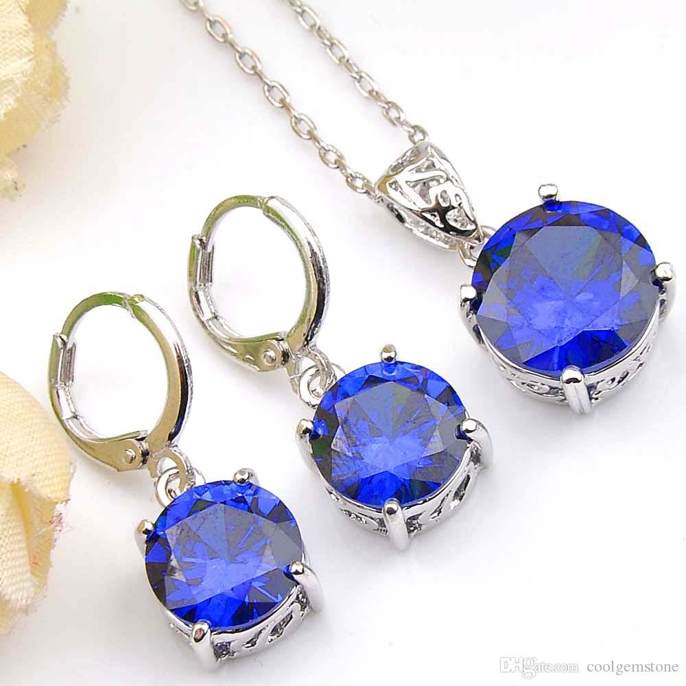 Antique Dazzling Rodada Fire Blue Cubic Zirconia Gems 925 Colar de Pingentes de Prata Esterlina Brincos de Casamento Conjuntos de Jóias de Noivado