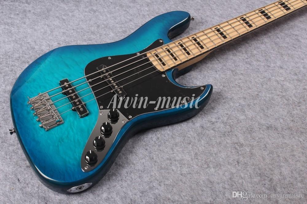 Arvinmusic Factory Custom Blue 5 Strings 플레임 메이플 베니어, Transparen Pickguard, Chrome 하드웨어, 메이플 넥, 일렉트릭베이스 기타