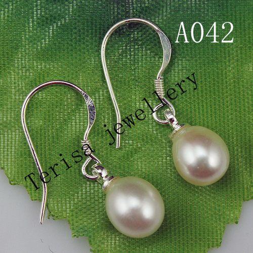 Nouveau A042 # Boucles d'Oreilles Perle Couleur Blanche Taille 7mm Longueur 2.5 pouce Argent 925 Boucles d'Oreilles Perles.