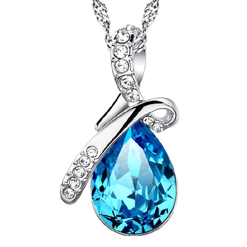 Mulher colar de cristal de qualidade pingente declaração colar de Anjo Lágrimas de pedra azul encantos do vintage moda colares