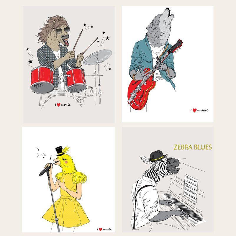 Música Rock Animales Papel de pared Pintura decorativa de la lona Diseños de moda Cartel Jazz tambores Guitarra Imagen Decoración Pinturas del hogar