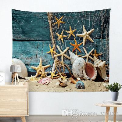 Starfish Shells Pearl Summer Theme Tapestry Wall Hanging Mandala Beach Towel Bohemian Indian Hippie Wall Art High Quality Wall Carpet