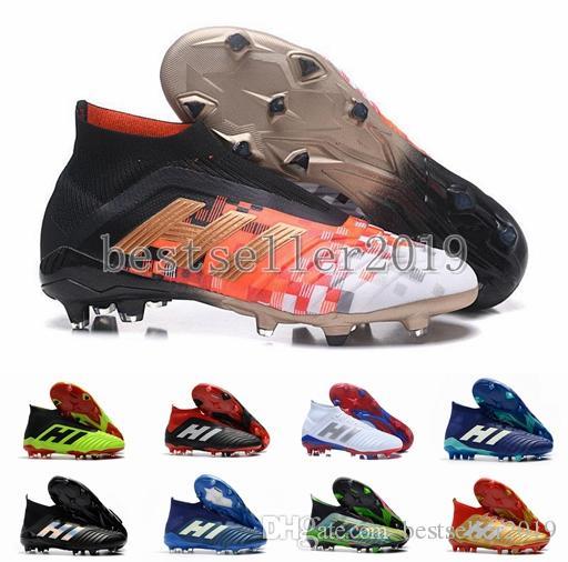 2018 Predator 18 FG PP Paul Pogba Tacos de fútbol Slip-On Chaussures De Football Boots Crampones para hombre Predator 18+ Zapatos de fútbol superior de alta 39-45