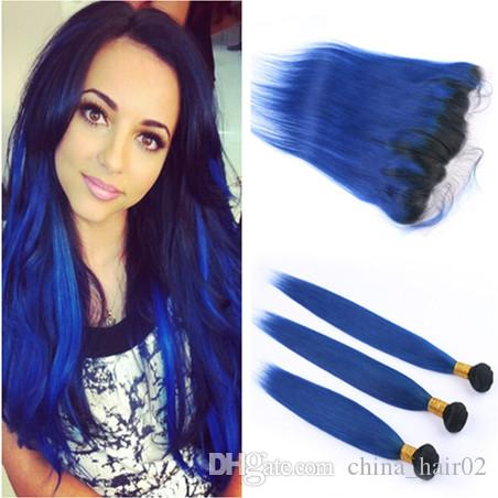# 1B / الأزرق الداكن الجذر أومبير البرازيلي العذراء الإنسان الشعر ينسج 3 حزمة مع مستقيم أومبير الداكن الأزرق الرباط الكامل إغلاق أمامي 13x4