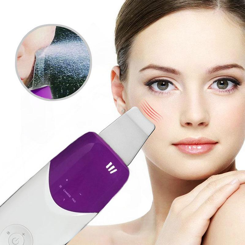 Ultrasound Therapy Skin Scrubber Ultrasonic Face Pore Cleaner Galvanic Ion Spa Beauty Device Facial Massager Face Lift Machine