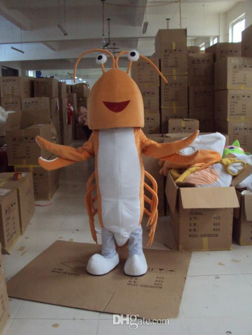 Venta caliente 2018 traje de la mascota del camarón tamaño adulto mar animal Shirmp Carnival Party navidad Cosply Mascotte traje Kit