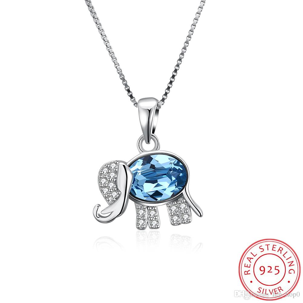 Luxury 925 Sterling Silver Link Chain Necklace Top Quality Crystal Cute Elephant Pendant Necklace for Women Party Fashion Jewelry Box Chain
