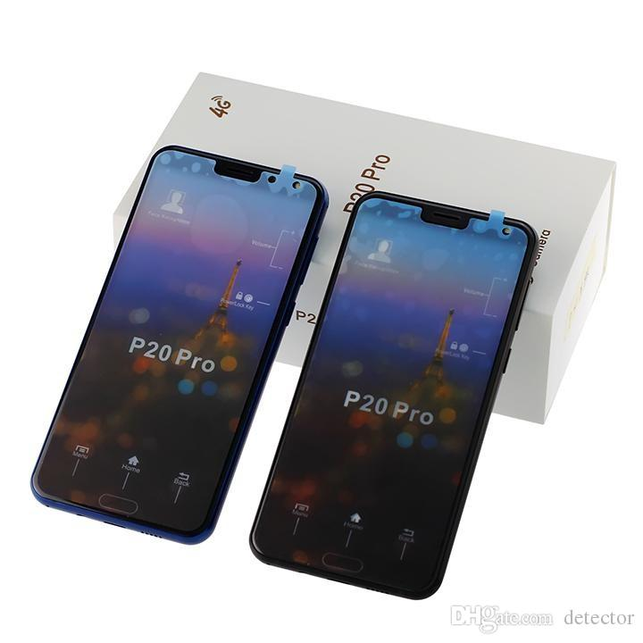 Full screen Curved screen P20 Pro 3 cameras Android 8 P20pro 1GB/4GB Show fake 4GB RAM 128GB ROM Fake 4G LTE Unlocked Cell Phone DHL Free