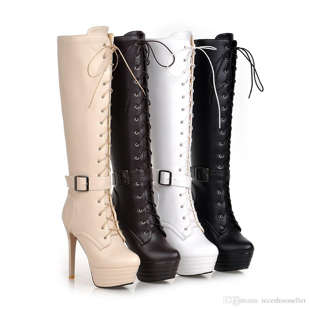 Sexy Genuine Leather Lace Up Knee High Boots Women Winter Super High Thin Heel Woman Boots Platform Buckle ADF-9654