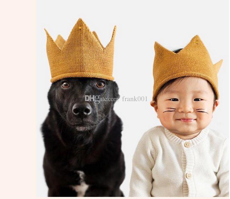 패션 다채로운 아기 신생아 사진 소품 어린이 모자 아기 크라운 니트 모자 밴드 사진 액세서리 생일 모자