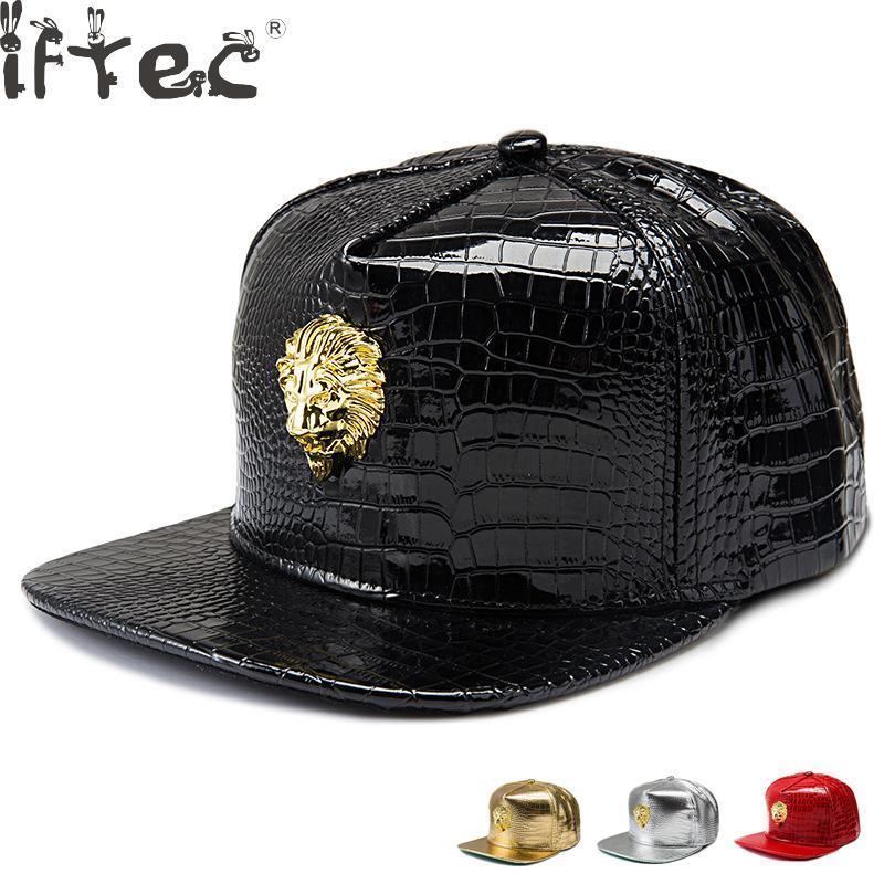 Dropshipping Cappelli di baseball del re di baseball della testa di leone del cuoio dell'unità di elaborazione del Golden Head uomini donne Cappelli di Hip Hop del diamante del coccodrillo della corona di Gorras Crown
