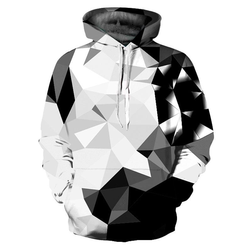 New Fashion Argyle Color Blocks Hoodies Men/Women 3d Sweatshirts Print White Black Diamonds Blocks Hooded Hoodies