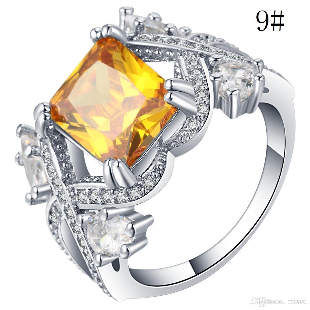 Nouvelle mode creux alliage jaune or Bling cristal zircon anneaux alliances élégantes