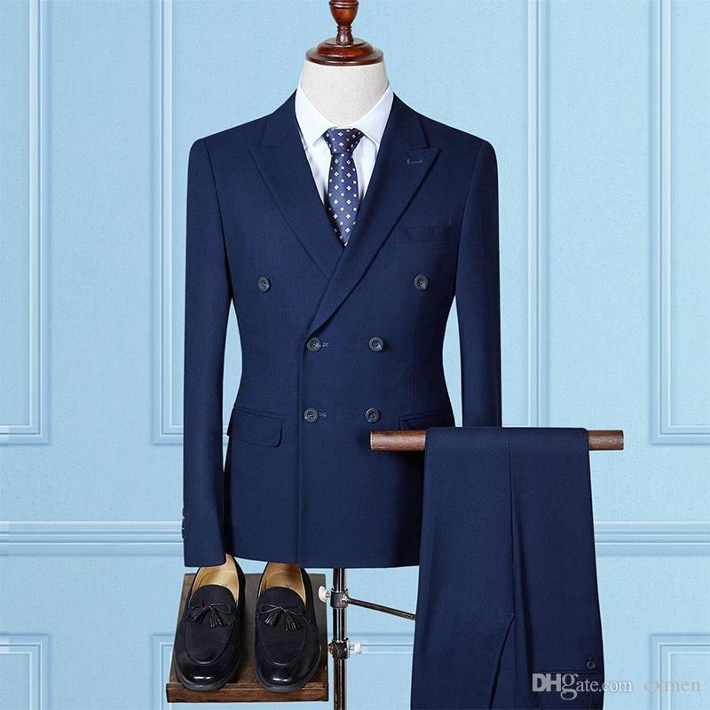 Custom Blue Men Suits 2018 Wedding Suits Slim Fit Groom Tuxedos Groomsmen Best Man Blazer Prom Wear 3 Pieces (Jacket+Pants+Vest)