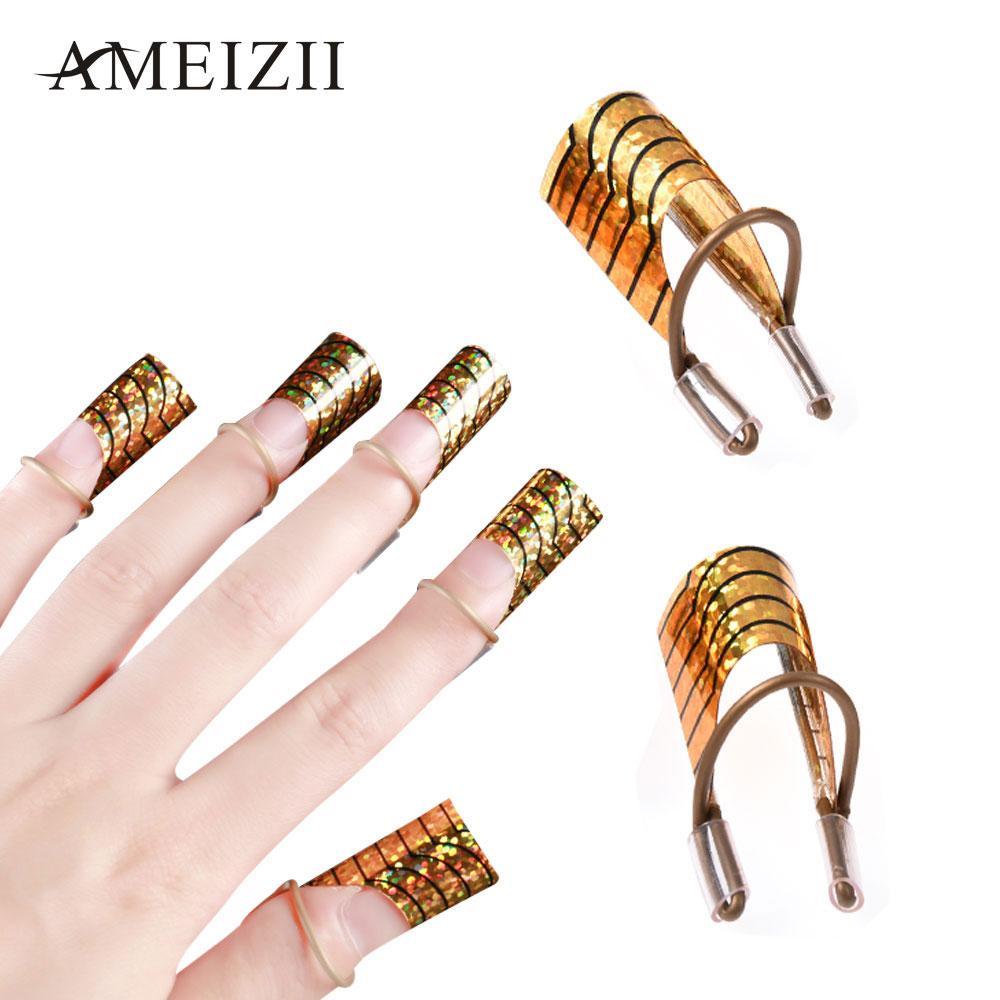AMEIZII Nail Art C Forma curvada Forma de extensión Extremidades de guía de aluminio Francés Gel acrílico polaco Diseño UV Metal reutilizable Moldes de manicura