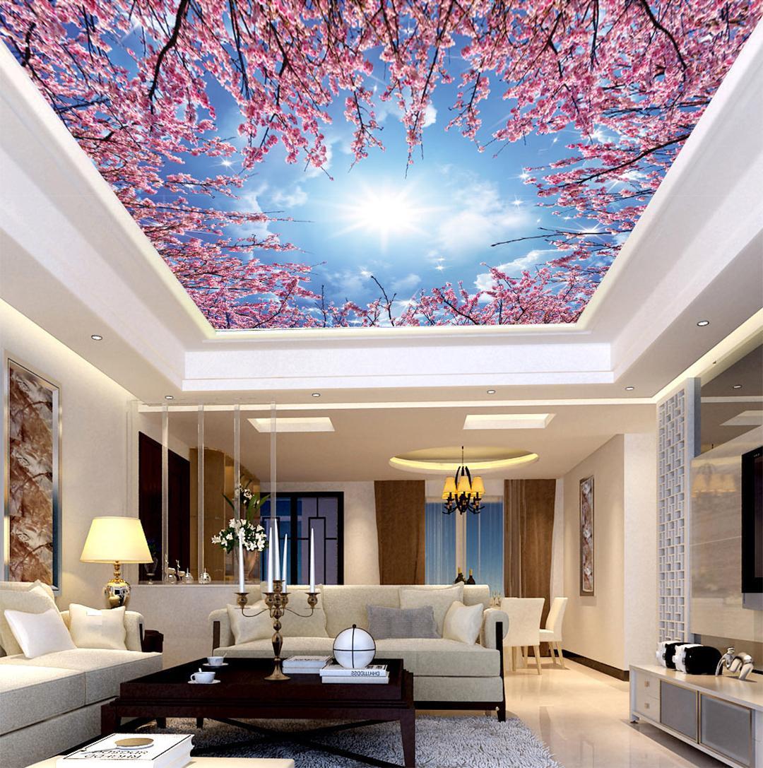 Özel Perakende 3D Şeftali Çiçeği Mavi Gökyüzü Beyaz Bulutlar Güneş Zenith Duvar