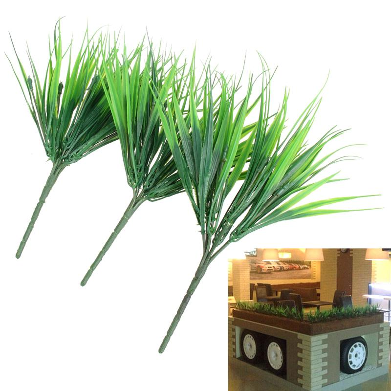 10Pcs/lot Brick Artificial Plants Green Grass Plastic Simulation Plants for Home Decoration Flower 7 Fork Spring Fake Grass Leaves