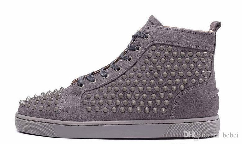 Studded Top 46 Women Cheap Sneakers Grey Designer Causal Shoes Matter 36 High Flat Luxury Leather With Spike Comfortable Size Brown Men 0wOPkn