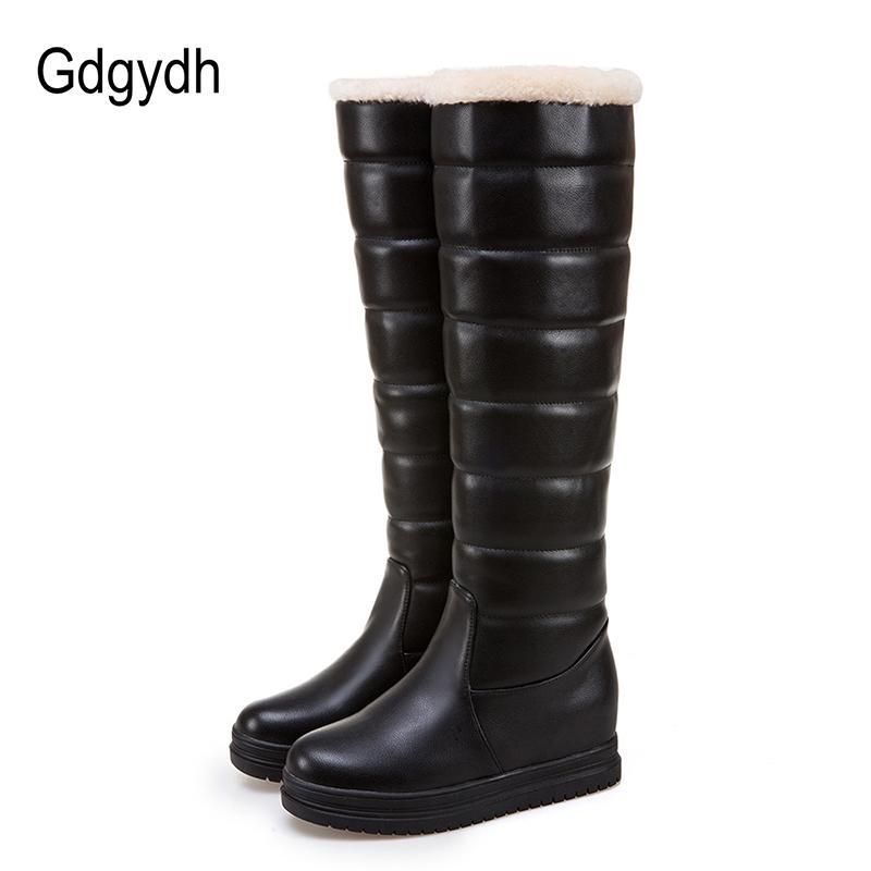 Frauen Höhe Schuhe Russische Warme Platform Stiefel 2017 Großhandel Gdgydh Neue Weiß Schnee Schwarz Oberbekleidung Einlegesohle Knie Plüsch Winter EW29YDHI