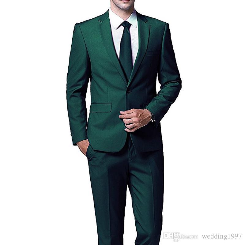 الأخضر الداكن المساء حزب الرجال الدعاوى لحفل زفاف حفلة موسيقية ارتداء 2018 اثنان قطعة سترة السراويل تريم صالح مخصص زفاف العريس البدلات الرسمية