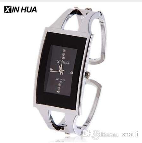 Reloj de pulsera de mujer XINHUA Reloj de pulsera de cuarzo Cristal Moda Plata Reloj de pulsera casual Drop Ship de acero inoxidable Mujer Brazalete