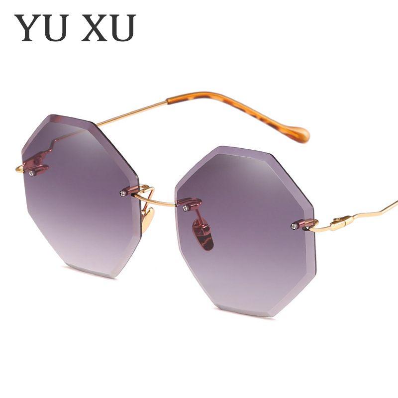 Yu Xu fashion occhiali da sole ottagonali senza montatura per occhiali da sole da donna firmati senza montatura occhiali da sole da donna in metallo piegati a gamba da sole H78