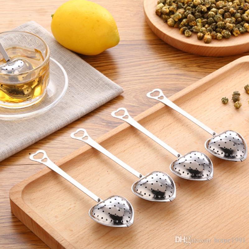 Новое сердце-образный из нержавеющей стали травяной чай Infuser Ложка фильтр Чай Болл сумка Цветочный чай Сито для продажи