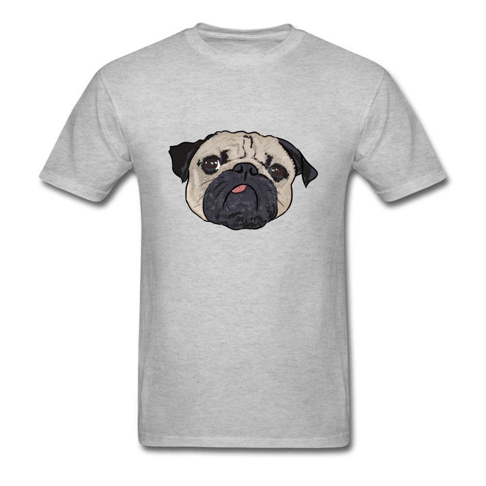 Always Blue Mood 2018 Men Pug Print Funny T-shirt Cotton Grey Tops Short Sleeve O Neck Cartoon T Shirt For Dog Lover